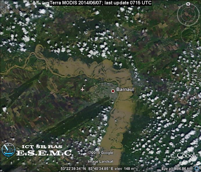 Барнаул на изображении Terra MODIS от 7 июня 2014