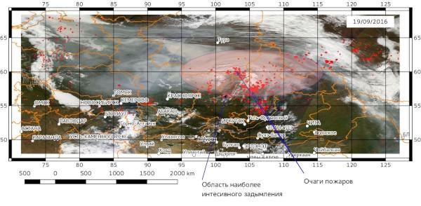 Схема распространения задымления на 19.09.2016. Изображение построено по данным сенсора MODIS спутника Terra (Источник: NASA Worldview)