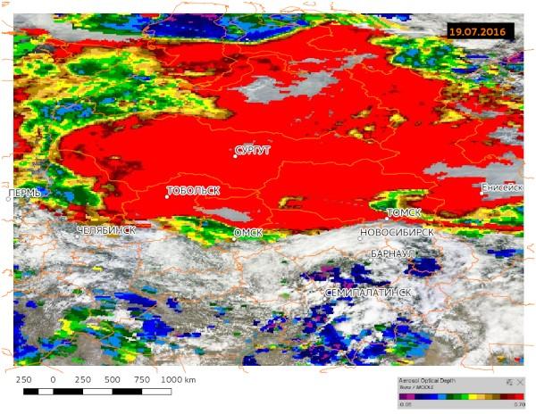 Аэрозольная оптическая толщина атмосферы, 19.07.2016