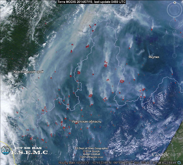Fires in East Siberia (Terra/MODIS)