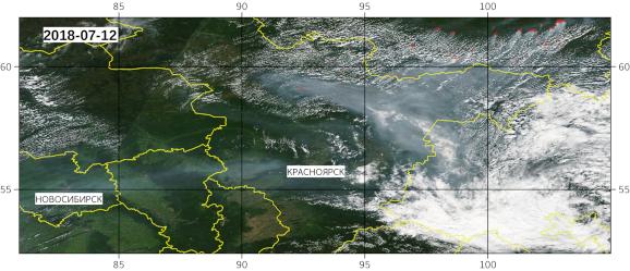 Задымление на мозаике данных MODIS