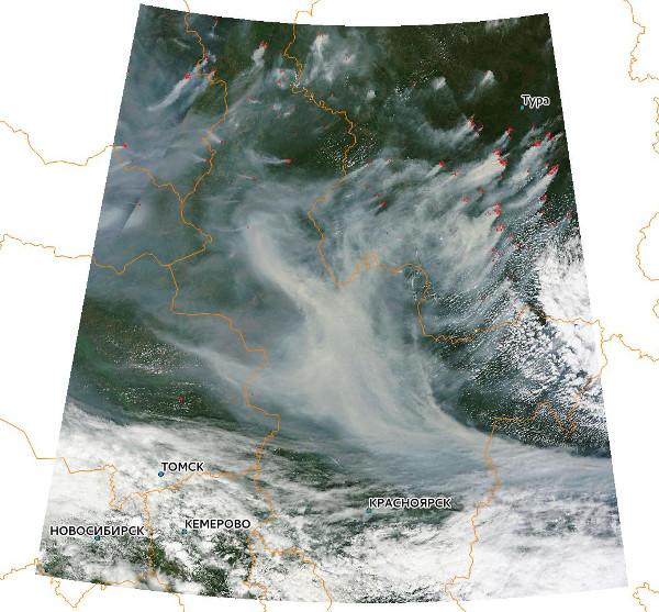 Очаги пожаров на территории Эвенкии