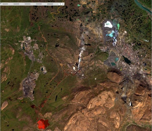 Landsat 8 image of Daldykan with waste reservoir taken on August 10, 2016