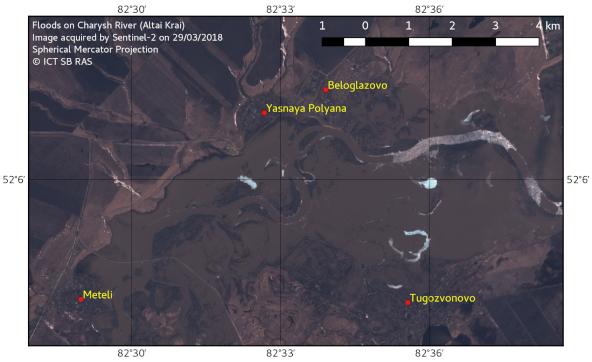 Floods on Charysh River, 29.03.2018
